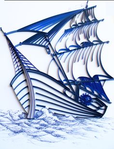 Sailing Ship - Unique Paper Quilled Wall Art for Home Decor (paper quilling handcrafted art piece made with love by an artist in California) by kaagazByMarlene on Etsy https://www.etsy.com/listing/249215831/sailing-ship-unique-paper-quilled-wall