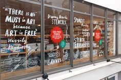 Beautiful storefront typography, signage on shop window, window decals, branding, typography