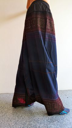 Handmade cotton Vintage-cross stitch Hmong fabric ethnic clothing trousers yoga pants