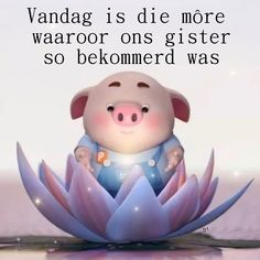 Vandag is die môre waaroor ons gister so bekommerd was Pig Illustration, Illustrations, Cute Piglets, Pig Drawing, Afrikaanse Quotes, Goeie More, Baby Pigs, Good Morning Wishes, Little Pigs