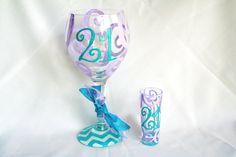 SET OF 2 Monogram 21 Wine Glass and Shot Glass Chevron Personalized Custom Name 21st Birthday Wine Glass Beer Mug