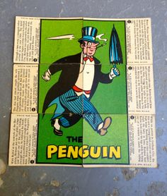 1966 Orignal Batman bubblegum trading cards,set # 5, The Penguin.