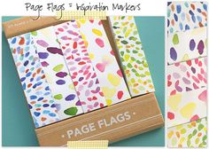 Page Flags for marking INSPIRATION!  So pretty!!  I'm leaving them on my desk just to look at them.