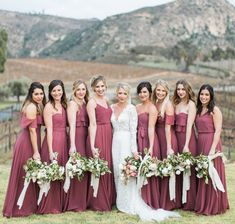 Jenny Yoo Collection Bridesmaids, featuring long mismatched luxe chiffon styles in cinnamon rose, a gorgeous shade of burgundy. Shown is the Olivia, Mila, Inesse, Mira and Charlie dresses. Each bridal party dress is unique, with flutter details, v-necklines, convertible sashs, high halter necks, and spaghetti straps. This bridesmaids look is great for a mix n match summer, fall, winter or spring wedding. Photography by Jenna Photo.