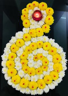 Beautiful yellow and white flowers design using thermocol balls for Diwali festival. Rangoli Designs Flower, Small Rangoli Design, Rangoli Patterns, Colorful Rangoli Designs, Rangoli Ideas, Rangoli Designs Diwali, Rangoli Designs Images, Diwali Rangoli, Flower Rangoli