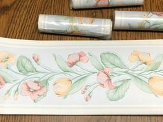 4 Rolls Pastel Wall Paper Border Tulip Floral 5 inch x 5 yards New In Package #BordenInc Pastel Walls, Borders For Paper, Flour Sack Towels, Cocktail Napkins, Floral Wall, Yards, Tulips, Red And Blue, Rolls