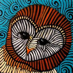 Love the lines, owl in oil pastels w/ black paper