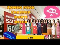 Printed carepe kurti combo pack (6pic ) offer #meshop - YouTube Womens Nighties, Website Link, Kurti, I Shop, Printed, Places, Youtube, Prints, Youtubers