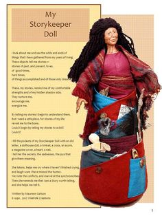 I know this artist/teacher, and I know you will love her: Storykeeper Doll Pattern and Tutorial for by MaureenCarlsonStudio, $9.95