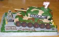 Zackery's GI Joe Cake: This GI Joe cake was inspired by other cakes I saw online, I went with a GI Joe cannon!  For the cake itself I used a standard cake pan for the base, for