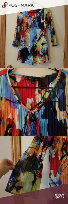 """Melissa Paige Top Fun, multi colored top, lightweight/ sheer, very """"forgiving """" sizewise Melissa paige Tops Tees - Short Sleeve"""