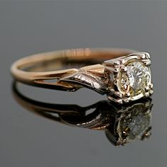 Vintage Diamond Engagement Ring - 14k Yellow and White Gold with Diamond. $2,325.00, via Etsy.