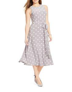 f9a8a89094a82 LAUREN RALPH LAUREN Plus Polka-Dot Jersey Dress Plus Size Outfits