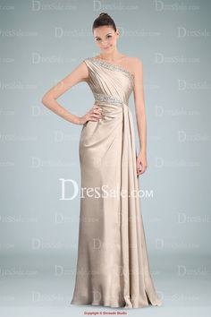 Stylish One-shoulder Evening Dress with Shimmering Beads Accenting the Neckline and Waistband
