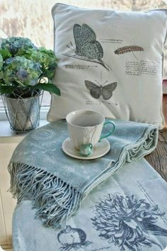 I love French country style, shabby chic , romantic and white style. This is just random things I love. White Cottage, Cozy Cottage, Cottage Living, Cottage Style, French Cottage, Blue Butterfly, Blue Bird, Butterfly Cushion, Butterfly Kisses