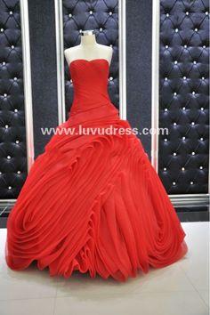 Ruffer Organza red wedding dress