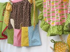 ...patterned, colorful aprons!