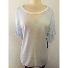 NWT ⚜ Calvin Klein Sky Blue Silk Net top Size XL New with tags! Beautiful Calvin Klein top in a sky blue color silky fabric, and a white net fabric, very stylish for night look or day :) Calvin Klein Tops Tees - Short Sleeve