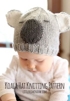 Free Cuddly Koala Hat Knitting Pattern! | littleredwindow.com #knittingpatternsbaby
