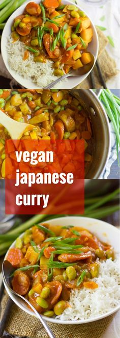 This vegan Japanese curry is made with chunks of potatoes and veggies simmered up in a spicy tomato base. Served over a bed of rice, it makes a perfect hearty fall dinner!