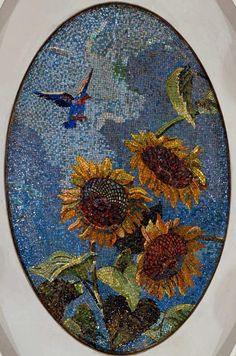 Sunflower ceiling mosaic from the Mayakovskaya Station in Moscow.  Deineka.