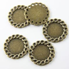 6pcs Antique Brass Tone Base Metal link  Settings por clbeads, $2.75