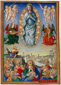 Assumption of the Virgin into Heaven, page from the Sforza Hours medieval illuminated manuscript, originally produced in Milan, c. 1490 / British Library