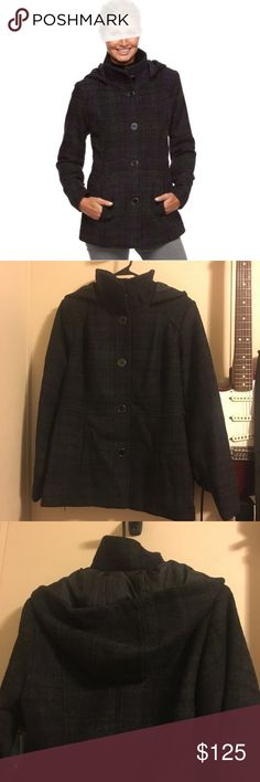 Single Breasted Peacoat, Black & Purple with Hood Peacoat - single breasted with hood. Black and purple plaid. d.e.t.a.i.l.s. Jackets & Coats Pea Coats