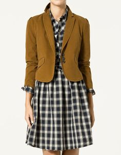 plaid dress + blazer (ps, it really bugs me when clothing companies crop the head off a model.  thanks, zara.)