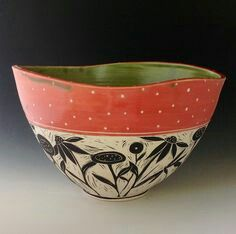 Pottery Bowls, Ceramic Bowls, Ceramic Pottery, Pottery Art, Painted Pottery, Ceramic Techniques, Pottery Techniques, Clay Design, Ceramic Design