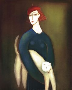 ⍕ Paintings of People & Pets ⍕ Eva Skierska, 'A Lady and Cocotte'