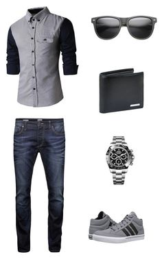 """Untitled #15"" by solieldawnmarie on Polyvore featuring Jack & Jones, adidas, Rolex, BOSS Hugo Boss, ZeroUV, men's fashion and menswear"