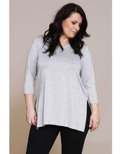 Tunika z rękawem 7/8 - szary melanż/lurex/SE plus size womens fashion for curvy body.Outfit ideas. Moda dla pań o pełnej figurze