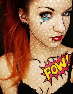 Zebra Makeup add a french roll, some black and white hairspray and then complete with makeup. Great for a jungle party. #animal #makeup #ideas Fantasia Diy, Halloween 2015, Cool Halloween Makeup, Halloween Make Up, Comic Book Halloween, Face Painting Designs, Paint Designs, Pop Art Makeup, Makeup Ideas