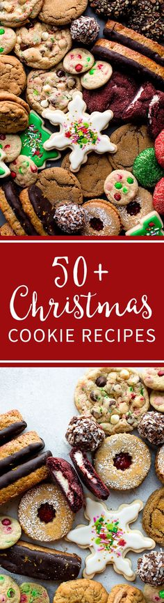 50 Christmas Cookie recipes including decorated sugar cookies, biscotti, linzer cookies, no-bake cookies, peanut butter cookies, red velvet cookies, chocolate cookies, snowball cookies, molasses cookies, and more!! Cookie recipes on sallysbakingaddiction.com