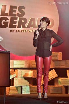 Alessandra Sublet a fait preuve d'humour et d'autodérision pour aller chercher son prix du paradoxe aux Gérard de la télé ce 19 janver 2015.