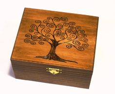 I love wooden boxes. Tree of Life Woodburned Ring Box Handcrafted Trinket by DekoMuse.
