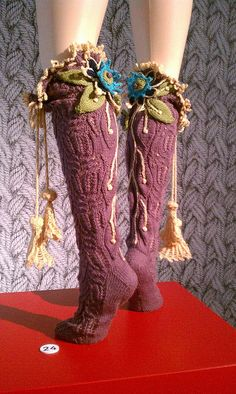 Idea for knitting Vivienne Westwood socks // I envision the top decorations peeking out from tall boots Crochet Socks, Knitting Socks, Knit Crochet, Knit Socks, Vivienne Westwood, Estilo Hippie, Fairy Clothes, Refashion, Leg Warmers