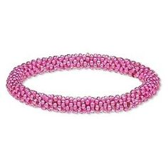 Handcrafted Bright Pink India Artisan Glass Beads Woven Bangle Bracelet