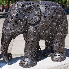 Title: Elephant Sound Artist: Luka Boonkerd Kaewdee Location: Axeltorv City Events, Elephant Parade, Copenhagen, Lion Sculpture, Statue, Artist, House, Ideas, Kunst