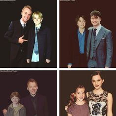 Tom Felton (Draco Malfoy), Daniel Radcliffe (Harry Potter), Rupert Grint (Ron Weasley), and Emma Watson (Hermione Granger) at the first and last Harry Potter premieres. Memes Do Harry Potter, Estilo Harry Potter, Mundo Harry Potter, Theme Harry Potter, Harry Potter Cast, Harry Potter Love, Harry Potter Fandom, Harry Potter World, Tom Felton