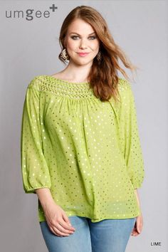2c51bbe8caf8f Umgee 3 4 Sleeve Polka Dot Blouse Top Plus Size