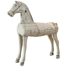 19th Century Swedish Child's Wooden Horse | From a unique collection of antique and modern toys at https://www.1stdibs.com/furniture/folk-art/toys/