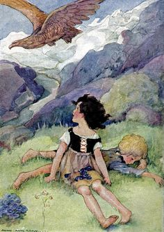 """Anne Anderson (1874-1940) """"Heidi in the Pasture"""" The website has some artist pages from books"""