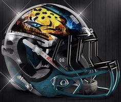 2d4897f94d118 Jacksonville Jaguars concept helmet with a chrome finish! I designed this  helmet to be paired with the Jaguars Concept Uniform that I just posted!