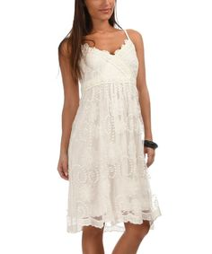 Love this White Lace Surplice Dress by Palme on #zulily! #zulilyfinds