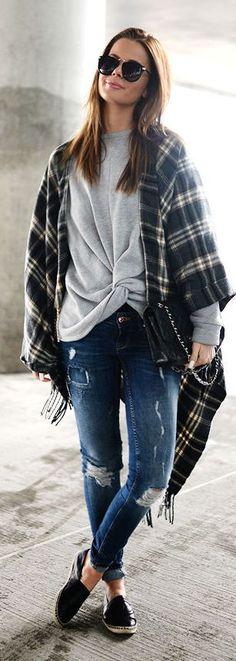 Plaid Poncho Outfit Idea by Stylista