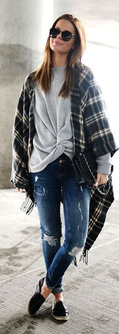 Plaid Poncho Outfit Idea by Stylista