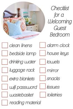 guest bedroom checklist --- frame Wifi password for guest room :)