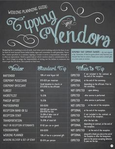 Infographic tips for tipping your wedding vendors pinterest there are so many different sources offering advice on tipping your wedding vendors it can junglespirit Image collections